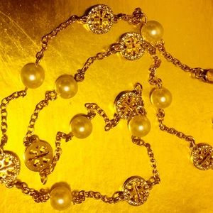 Tory Burch pearl and gold pearl necklace